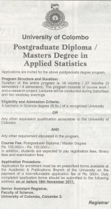 Postgraduate Diploma  Masters Degree in Applied Statistics – University of Colombo