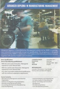 Advance Diploma in Manufacturing Management – NIBM
