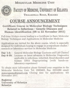 Certificate course in Molecular Biology Techniques related to Infections  Genetic Diseases and Human Identification