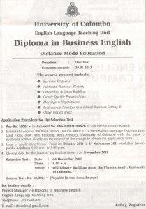 Diploma in Business English 2012 – University of Colombo