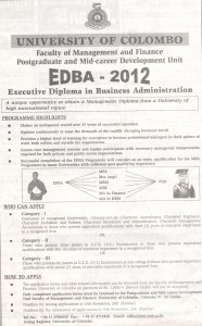 Executive Diploma in Business Administration 2012 – University of Colombo