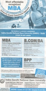 Indira Gandhi National Open University Degrees in Srilanka