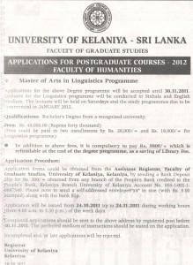 MA in Linguistics – University of Kelaniya