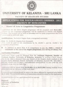 MA in Linguistics – University of Kelaniya