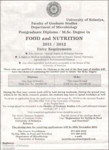 Post Graduate Diploma  MSc Degree in Food and Nutrition 20112012 – University of Kelaniya