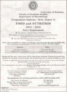 Post Graduate Diploma  MSc Degree in Food and Nutrition 20112012 – University of Kelaniya
