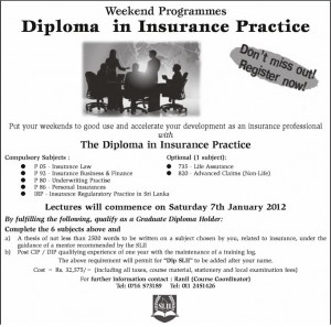 Diploma in Insurance Practice Weekend Programme by SLII