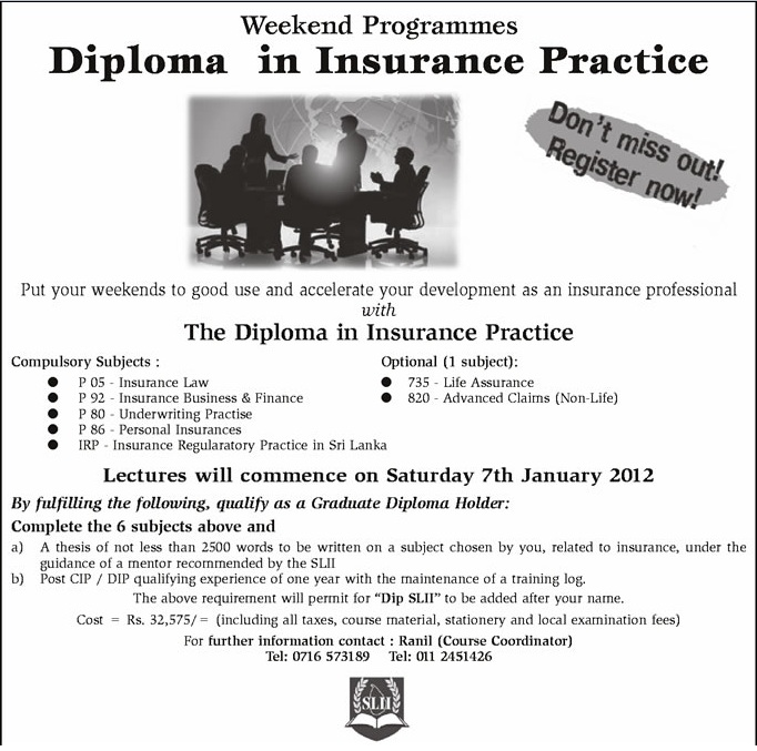 diploma in insurance practice weekend programme by slii synergyy diploma in insurance practice weekend programme by slii