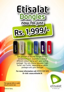 Etisalat Dongles just for Rs. 1,999.00 only