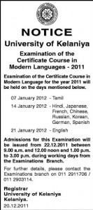 Exam Time table for Certificate course in Modern Languages 2011 by University of Kelaniya