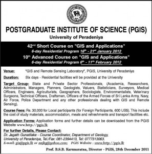 GIS And Applications Short Courses by University of Peradeniya