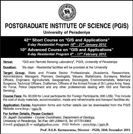 GIS And Applications Short Courses by University of Peradeniya ...
