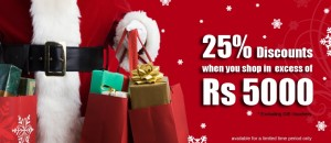 Hameedia Offers 25% Discounts on shopping excess Rs.5000.00 for charismas season.
