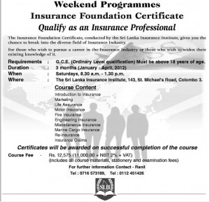 Insurance Foundation Certificate by Srilanka Insurance Institute