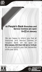 People's Bank Open on 1st January 2012