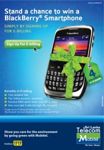 Sing up E Billing and Win Blackberry Smartphone from Mobital srilanka