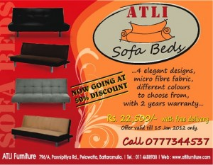 50 % Discounts for Sofa Beds till 15th January 2012