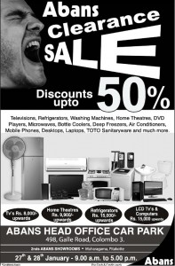 Abans Clearance Sale Discounts up to 50 - 27th & 28th January 2012