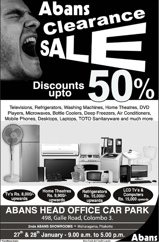 Abans Clearance Sale Discounts up to 50% – 27th & 28th