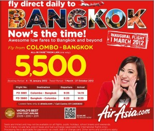 Air Asia Offers Colombo to Bangkok Just for LKR 5,500 only – bookings from 4th to 15th January 2012