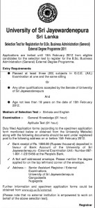 B.Sc Business Administration (External) Degree 2011 of University of Sri Jayewardenepura – closing date 15th February 2012