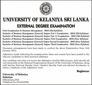 BBM external Degree examination time table 2012 – University of Kelaniya