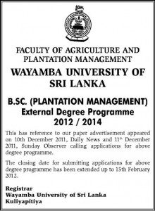 BSc Plantation Management for External Degree Programme of 20122014 by Wayamba University