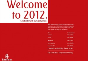 Book Flights by 9th January 2012 and Enjoy Special offers from Emirates