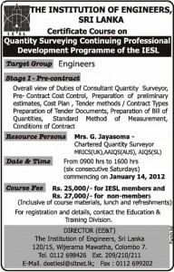 Certificate Course on Quantity Surveying Continuing Professional Development Programme by IESL