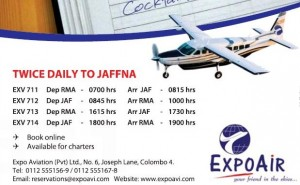 Colombo – Jaffna Flights by Expo Air