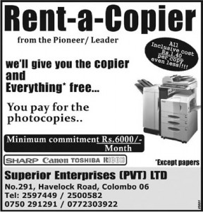 Copier for Rent with Minimum commitments of Rs. 6,000 per Month]