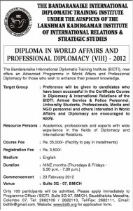 Diploma in World Affairs and Professional Diplomacy by Bandaranaike International Diplomatic Training Institute (BIDTI)