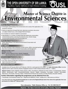 Master Degree in Environmental Sciences – Open University of Srilanka