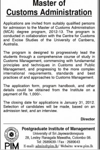 Master of Customs Administration in Srilanka by Postgraduate Institute of Management (PIM) Academic Year of 2012- 2013