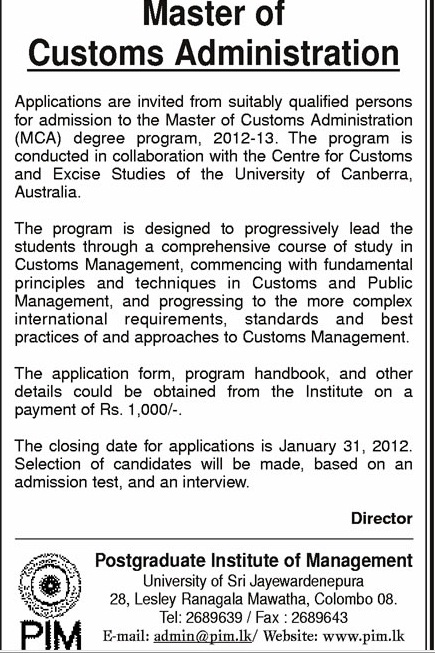 masters in customs administration philippines