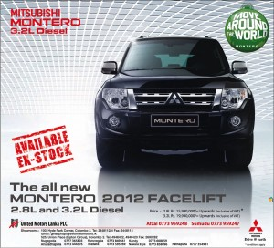 Mitsubishi Montero 2012- 2.8L for LKR 16 Million & 3.2L for LKR. 20 Million With VAT