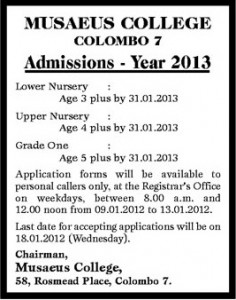 Musaeus College, Colombo 7 Admission for 2013