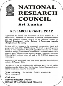 National Research Council Srilanka Research Grants 2012