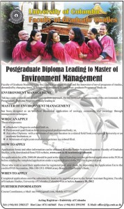Postgraduate Diploma Leading to Master of Environment Management by Faculty of Graduate Studies, University of Colombo