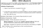 Postgraduate Diploma in Teaching English as a Second language (TESL) 2012/2014 University of Jaffna