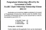 Postgraduate Scholarships for Srilankan 2012 /2013 by Government of India