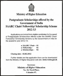 Postgraduate Scholarships for Srilankan 2012 2013 by Government of India