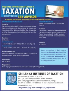 Taxation Courses in Srilanka by Srilanka Institute of Taxation