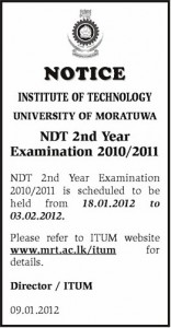 University of Moratuwa 2nd Year of NDT examination starts form 18th January 2012