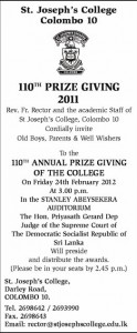 110th Prize Giving ceremony of St. Joseph College, Colombo on 24th February 2012