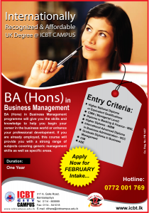 BA (Hons) in Business Management in One year by ICBT