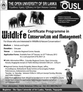 Certificate in Wildlife Conservation and Management by Open University of Srilanka