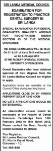 Examination for registration to practice Dental Surgery in Srilanka - 2012 by Srilanka Medical Council