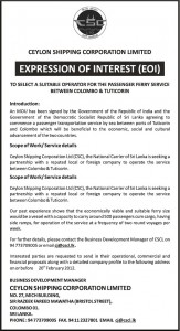 Expression of Interest (EOI) to select a Suitable operator for the passenger ferry service between Colombo & Tuticorin - Ceylon Shipping Corporation Limited