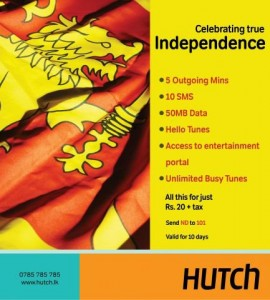 Hutch Independence Celebration Offers in Srilanka